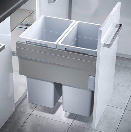 Euro Cargo 2 Compartment 76L Recycler Light Grey : 450mm Door