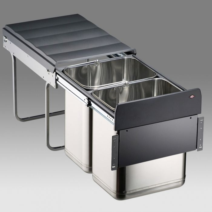 Master Stainless Steel 2-Compartment 40L Recycler - 785WS904-41: 400mm Door