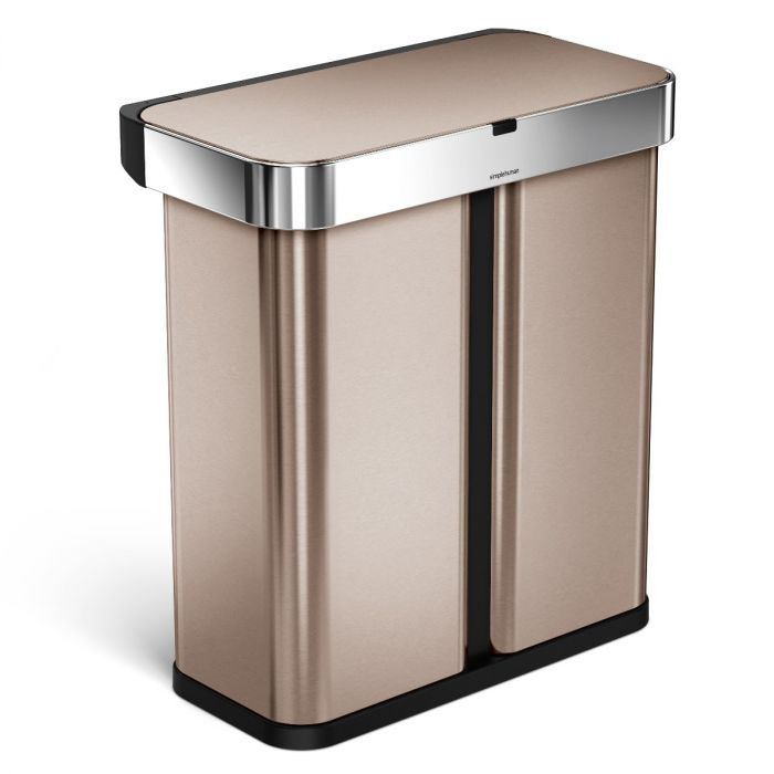 2-Compartment Voice & Motion Sensor Recycling Bin 58L Rose Gold - ST2037