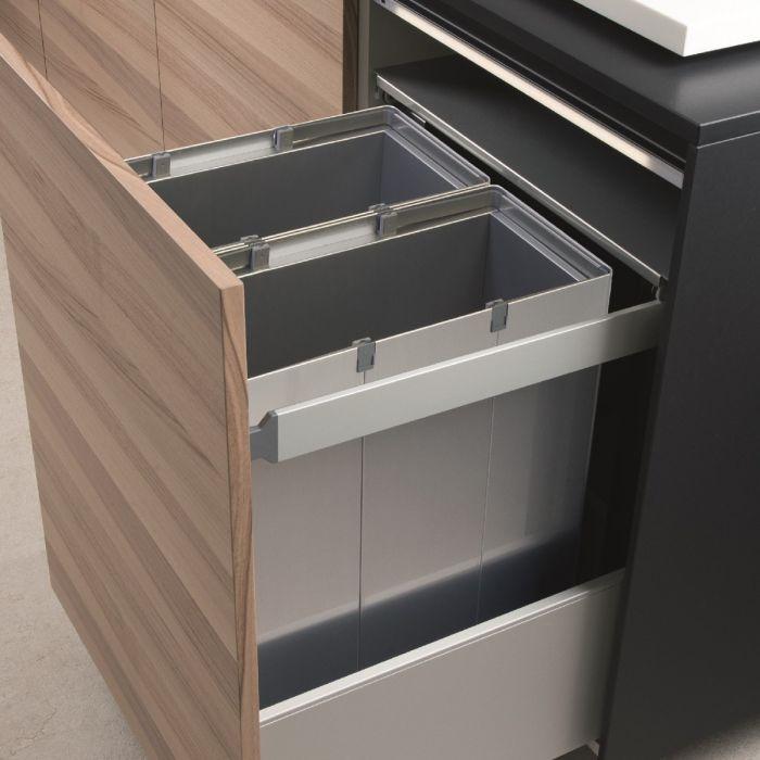 Premium Aluminium 2-Compartment 88L Recycler : 600mm Door