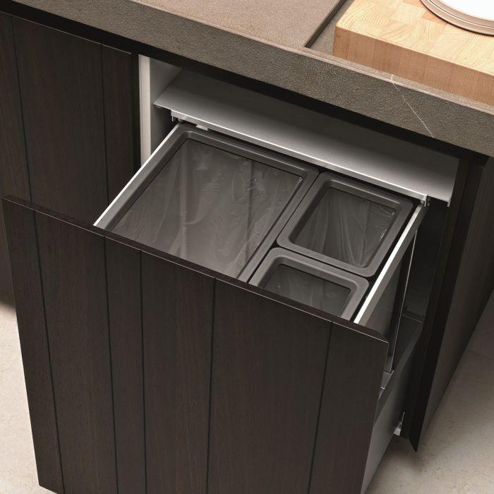 Premium Aluminium 3-Compartment  89L Recycler : 600mm Door