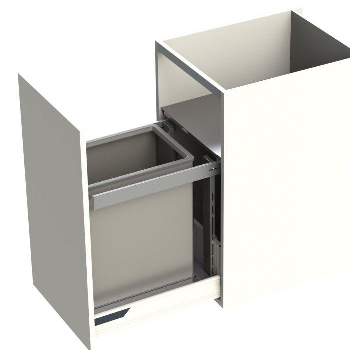 Premium Aluminium Single Compartment 55L Bin : 450mm Door