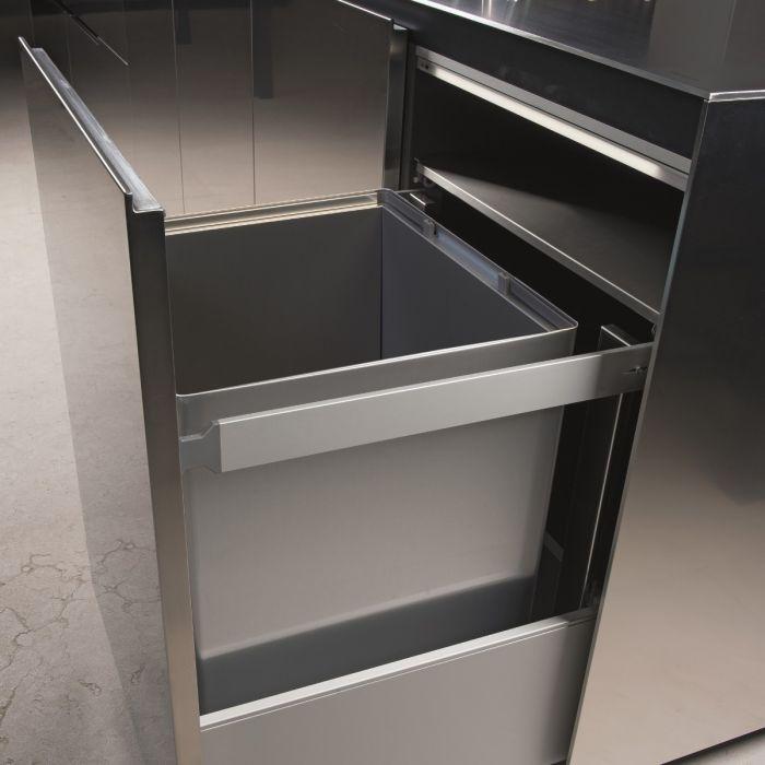 Premium Aluminium Single Compartment 90L  Bin : 600mm Door