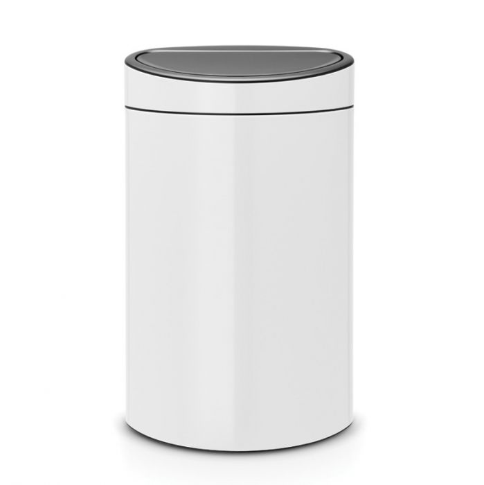 Touch Single Compartment 40L Kitchen Bin - White : 114984