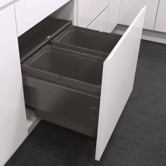 ES-Pro 2-Compartment 56L Recycler - Lava Grey : 600mm Door