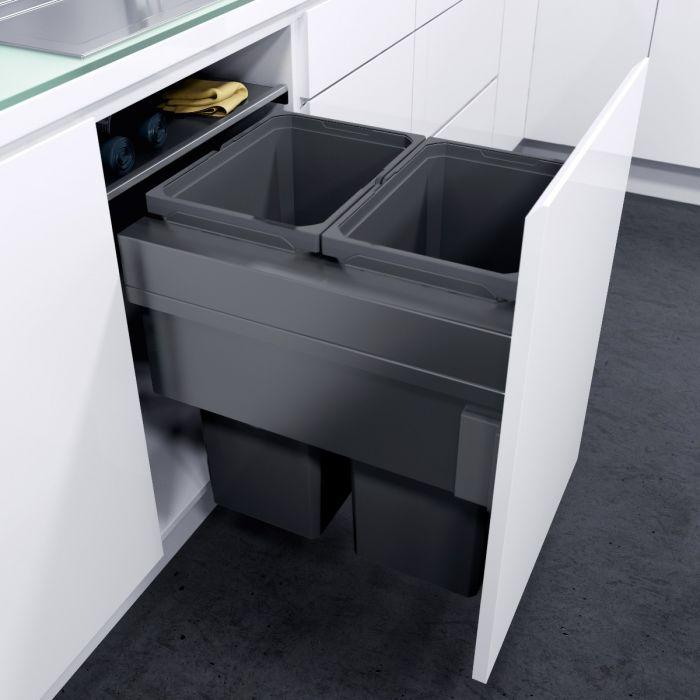 ES-Pro 2-Compartment 70L Recycler - Lava Grey: 500mm Door