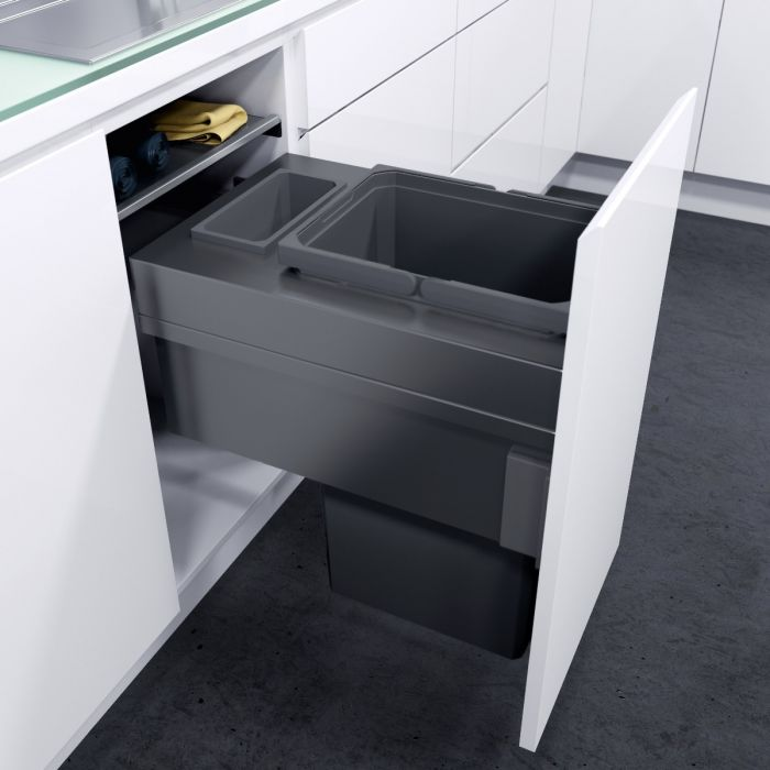 ES-Pro Single Compartment 33.2L In-cupboard Bin - Lava Grey : 400mm Door