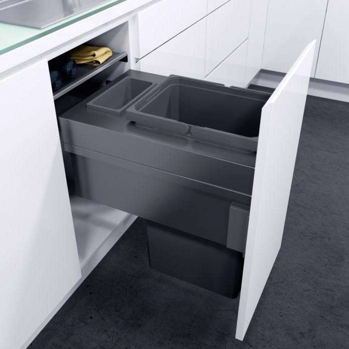 ES-Pro Single Compartment 36.2L In-cupboard Bin - Lava Grey : 400mm Door
