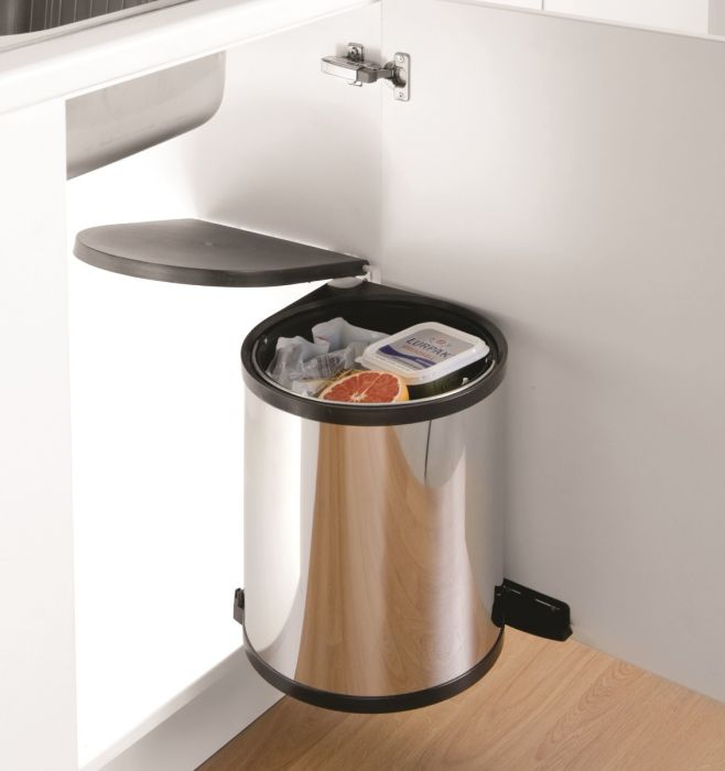 Classic Single Compartment Stainless Steel 13L Waste Bin : 400mm Door