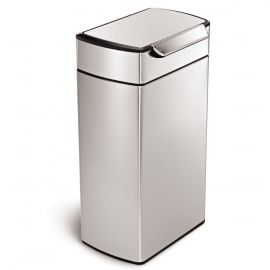 Rectangular Touch Bar Bin 40L Stainless Steel - CW2014