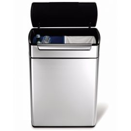 2-Compartment 48L Touch Bar Recycling Bin Stainless Steel - CW2018