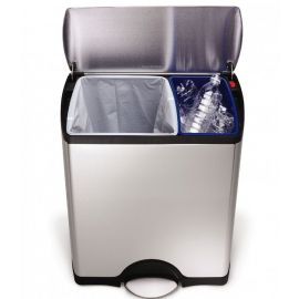 Rectangular Recycling Pedal Bin 46L Stainless Steel - CW1830