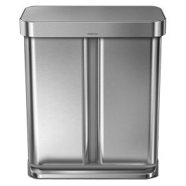 Dual Recycling Liner Pocket Bin 58L Stainless Steel - CW2025
