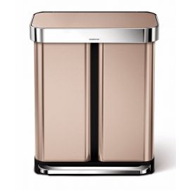 2-Compartment 58L Liner Pocket Recycling Bin - Rose Gold - CW2035