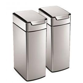 Simplehuman Slim Touch Bar 2-Bin Recycling Set: 80 Litres