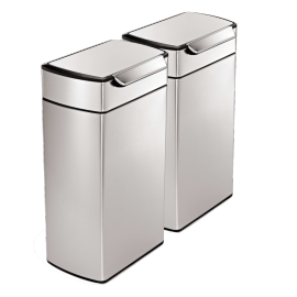 Rectangular Touch Bar 2-Bin Recycling Set: 80 Litres