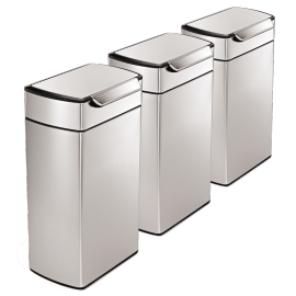 Rectangular Touch Bar 3-Bin Recycling Set: 120 Litres