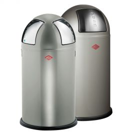 Pushboy/Push Two 2-Bin Recycling Set: New Silver
