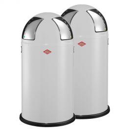 Wesco Push Two 2-Bin Recycling Set: White