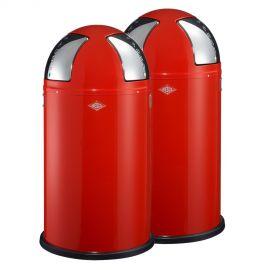 Wesco Push Two 2-Bin Recycling Set: Red