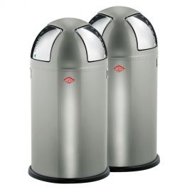 Push Two 2-Bin Recycling Set: New Silver