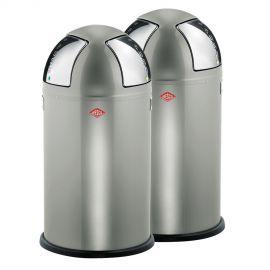 Wesco Push Two 2-Bin Recycling Set: New Silver