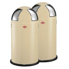 Wesco Push Two 2-Bin Recycling Set: Almond