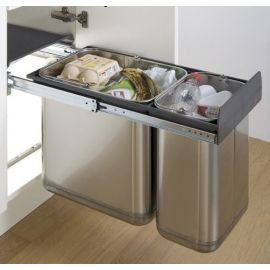 Master Stainless Steel 30L 2-Compartment Recycler 757WS624-42: 300mm Door