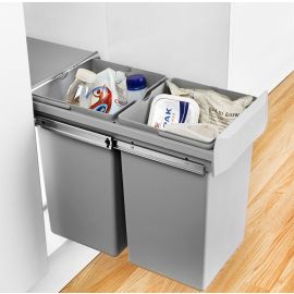 Double Boy Compact 2 Compartment 30L Recycling Bin 755601-85: 300mm Door