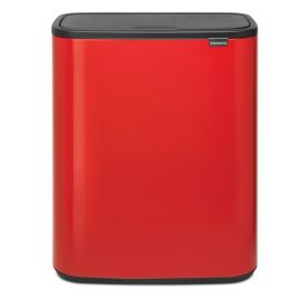 Bo Touch 60 Litre 2-Compartment Recycling Bin - Passion Red