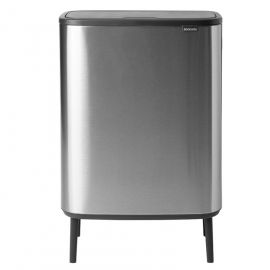 Bo Hi 60 Litre Dual Recycling Touch Bin - Matt Steel