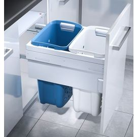 2 Compartment Built in Laundry Bin 66L: 500mm Door