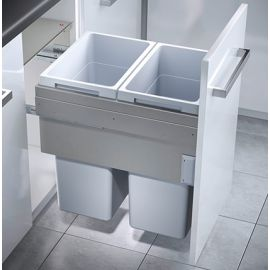 Euro Cargo 2 Compartment 76L Recycler Light Grey : 450mm Door