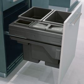 Euro Cargo 4 Compartment 90L Recycler Dark Grey : 600mm Door