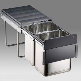 Master 2 Compartment Steel 40L Recycler - 785904-41: 400mm Door