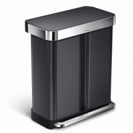 Simplehuman Dual Recycling Liner Pocket Bin 58L - Black Steel - CW2054