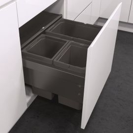 ES-Pro 3-Compartment 46L Recycler - Lava Grey : 500mm Door
