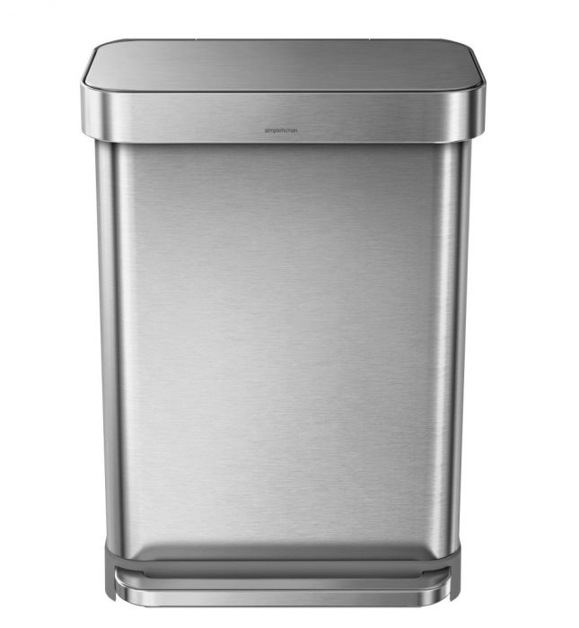 Rectangular Liner Pocket Pedal Bin 55L Stainless Steel - CW2023