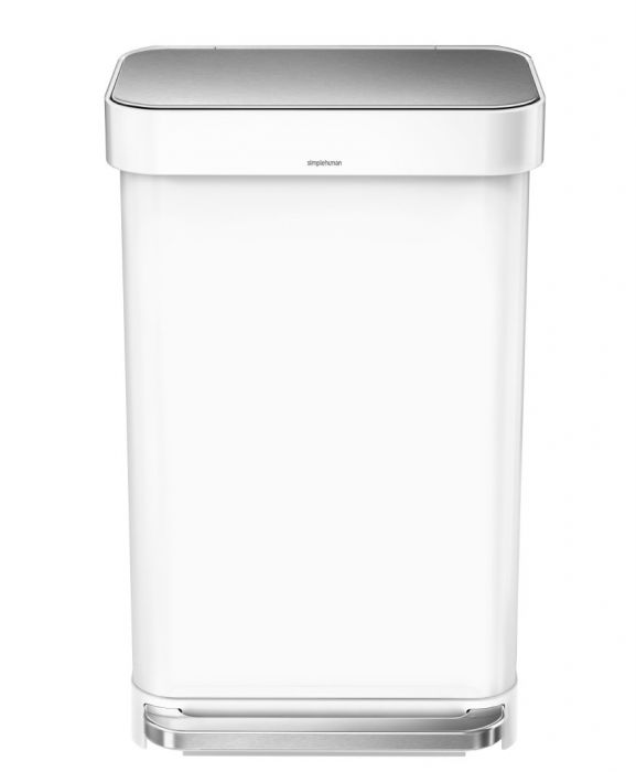 Single Compartment 45L Liner Pocket Pedal Bin - White Steel - CW2027