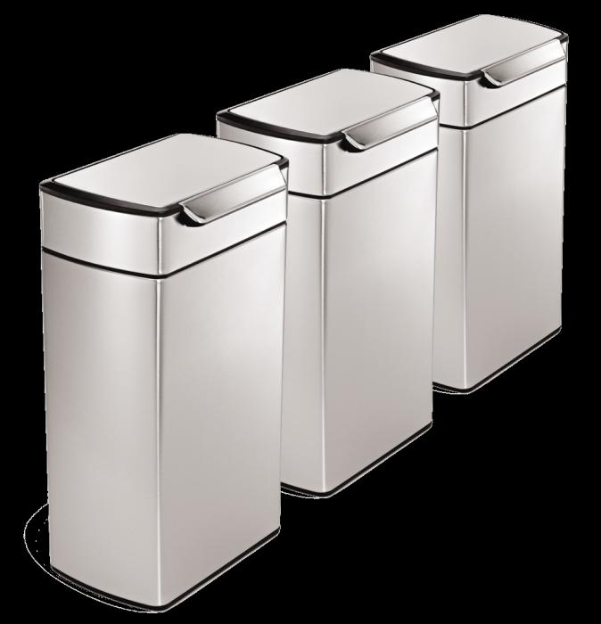 Rectangular Touch Bar 3-Bin Recycling Set: 120 Litres