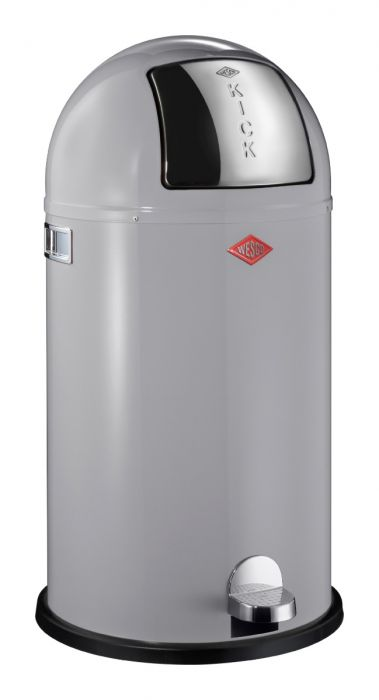 Kickboy Single Compartment 40 Litre Pedal Bin: Cool Grey