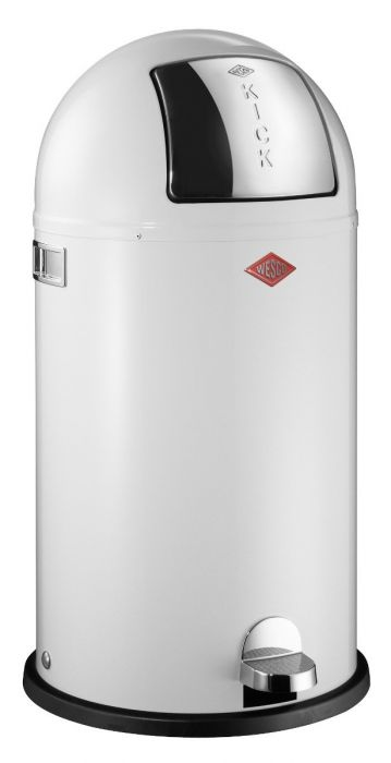 Kickboy Single Compartment 40 Litre Pedal Bin: White