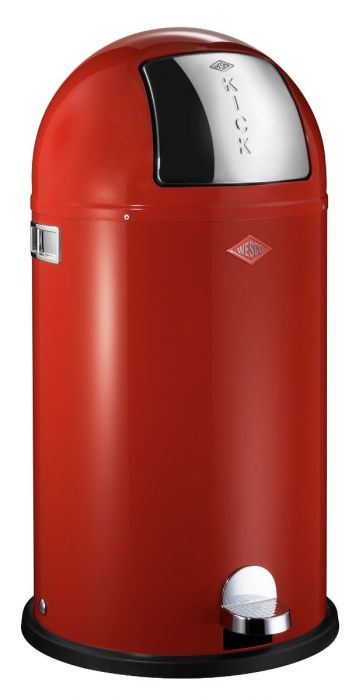 Kickboy Single Compartment 40 Litre Pedal Bin: Red