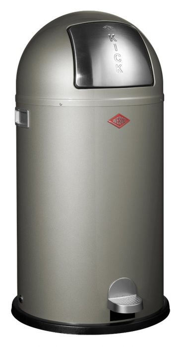 Kickboy Single Compartment 40 Litre Pedal Bin: New Silver