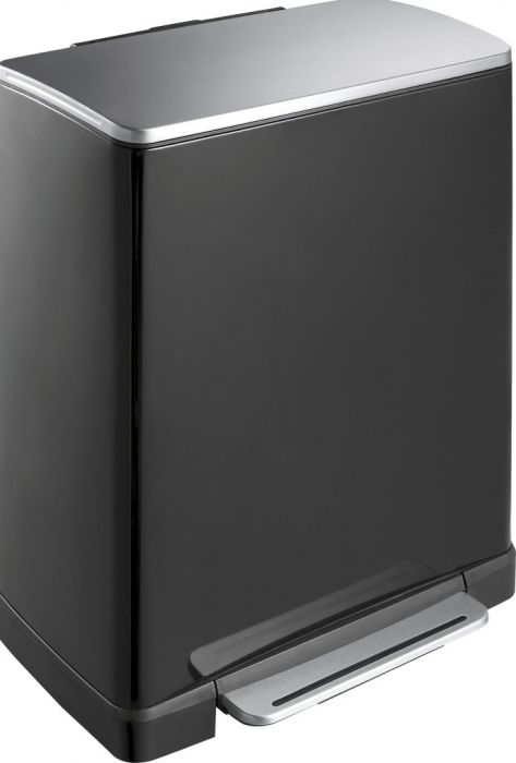 E-Cube Black 2-Compartment Recycling Pedal Bin 46L - VB 926846 BLK