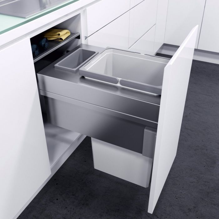 ES-Pro Single Compartment 33.2L In-cupboard Bin - Silver Grey : 400mm Door
