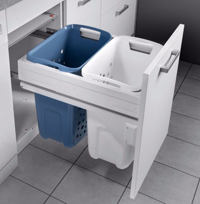 2 Compartment Built in Laundry Carrier 66L: 500mm Door