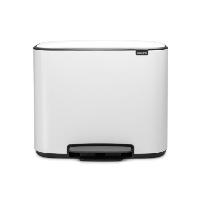 Bo Pedal Triple Recycling Bin 33 Litres - White: 121005