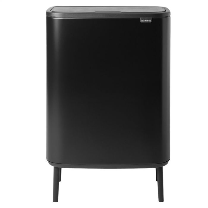 Bo Hi Touch 60 Litre 2-Compartment Recycling Bin - Matt Black
