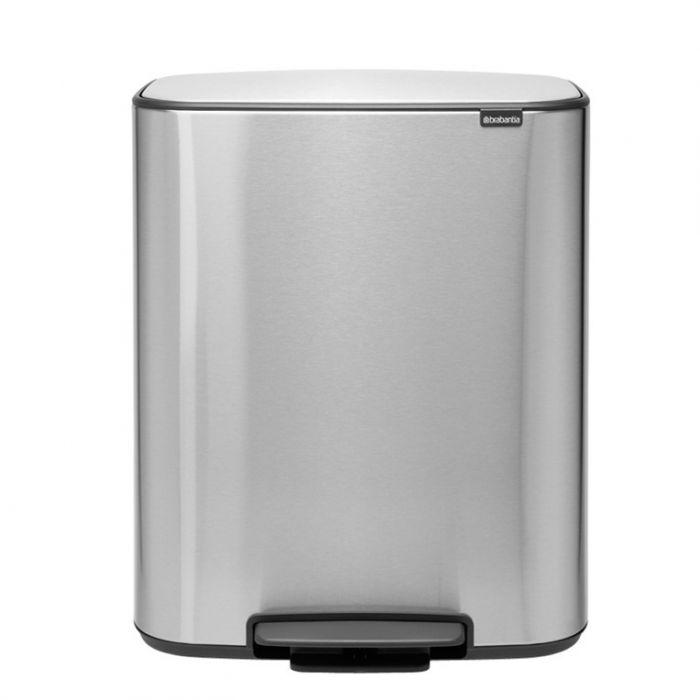 Bo Pedal 60 Litre 2-Compartment Recycling Bin - Matt Stainless Steel